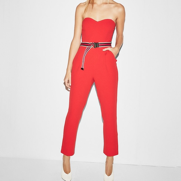 14753c2003c2 express red Strapless Sweetheart Neckline Jumpsuit